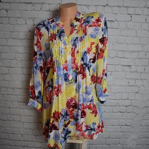 5a36054653315 Damart Tops - Damart UK Popover Floral Viscose Blouse Top Shirt